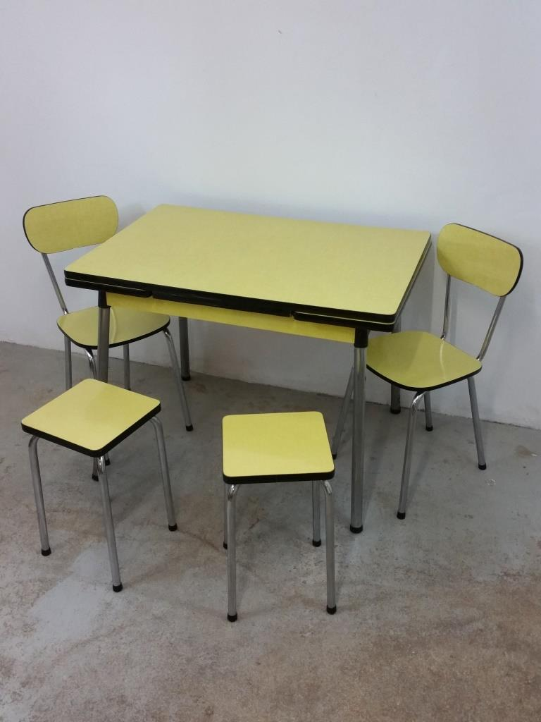 2 table chaises tabourets formica jaune