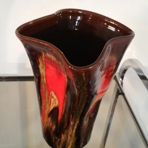 2 vase vallauris marron rouge