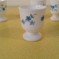 3 coquetiers arcopal fleurs bleues