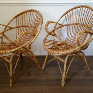 3 fauteuils en osier