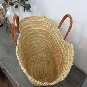 3 grand panier en palmier anses en cuir