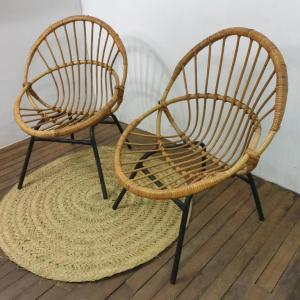 3 paire de fauteuils corbeille