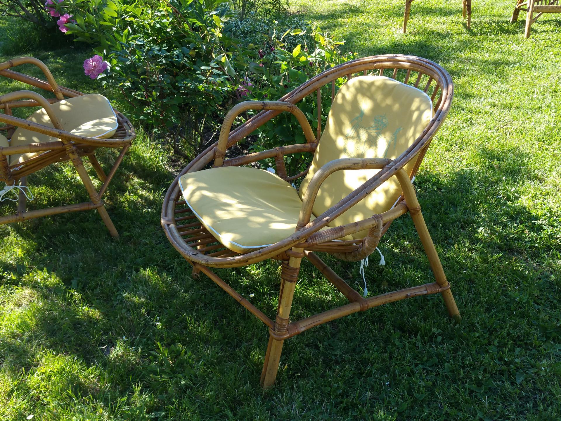 3 paire de fauteuils osier