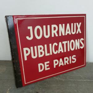 3 plaque emaillee journaux publications de paris