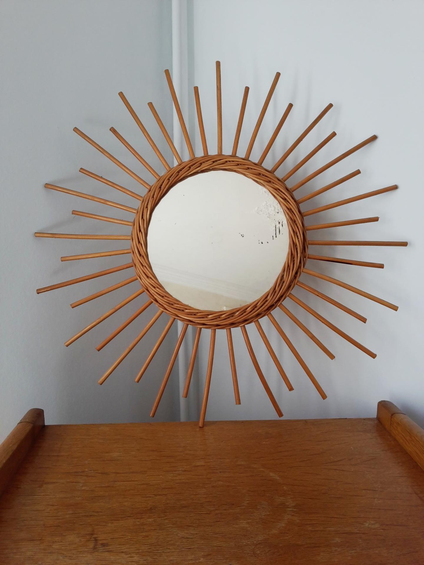 Miroir soleil vintage en osier for Glace soleil miroir