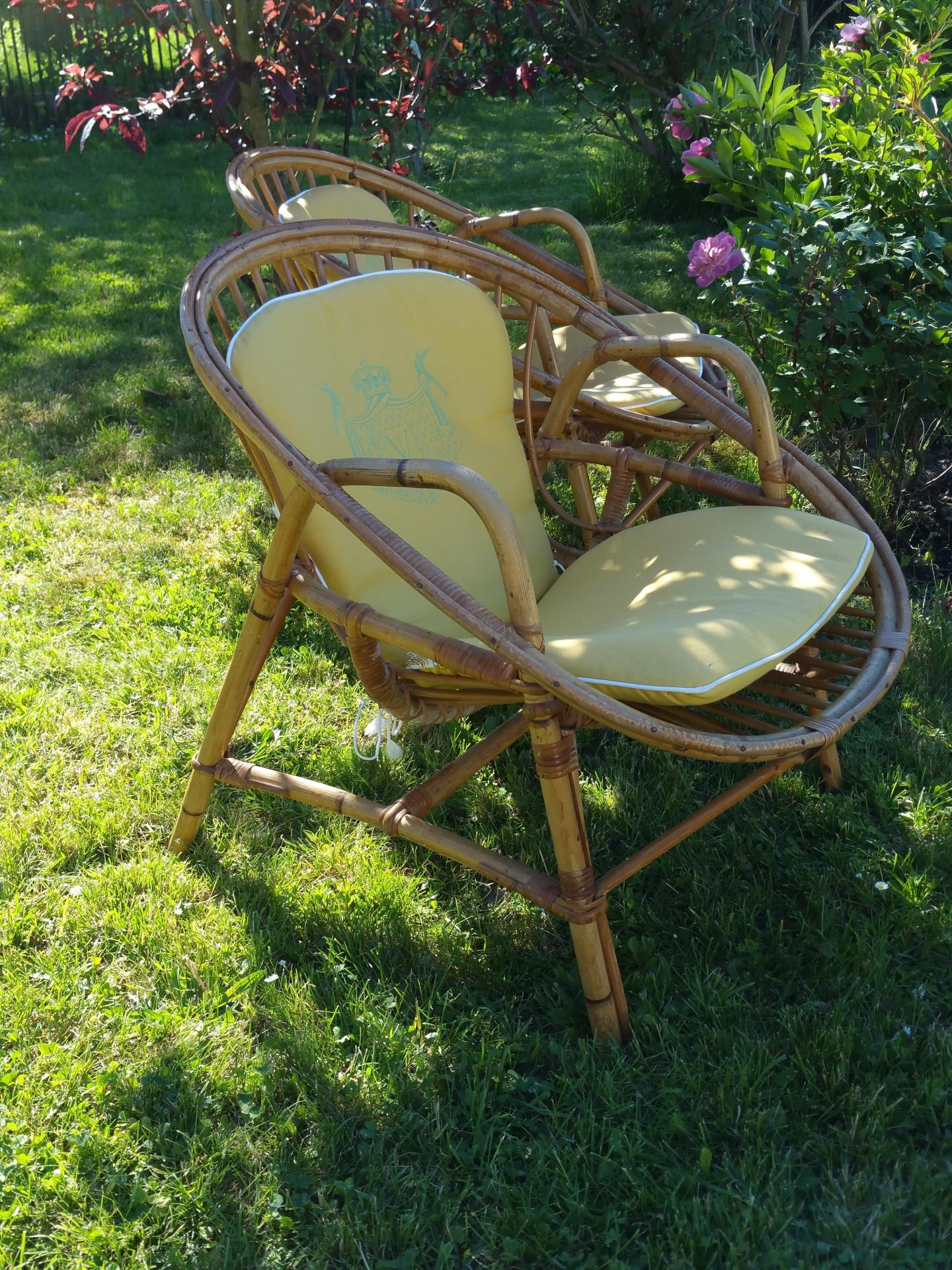 4 paire de fauteuils osier