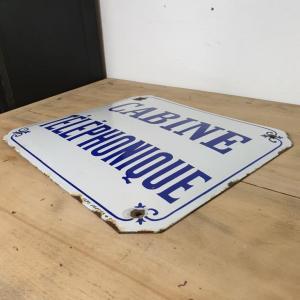 4 plaque emaillee cabine telephonique