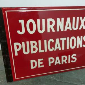 4 plaque emaillee journaux publications de paris