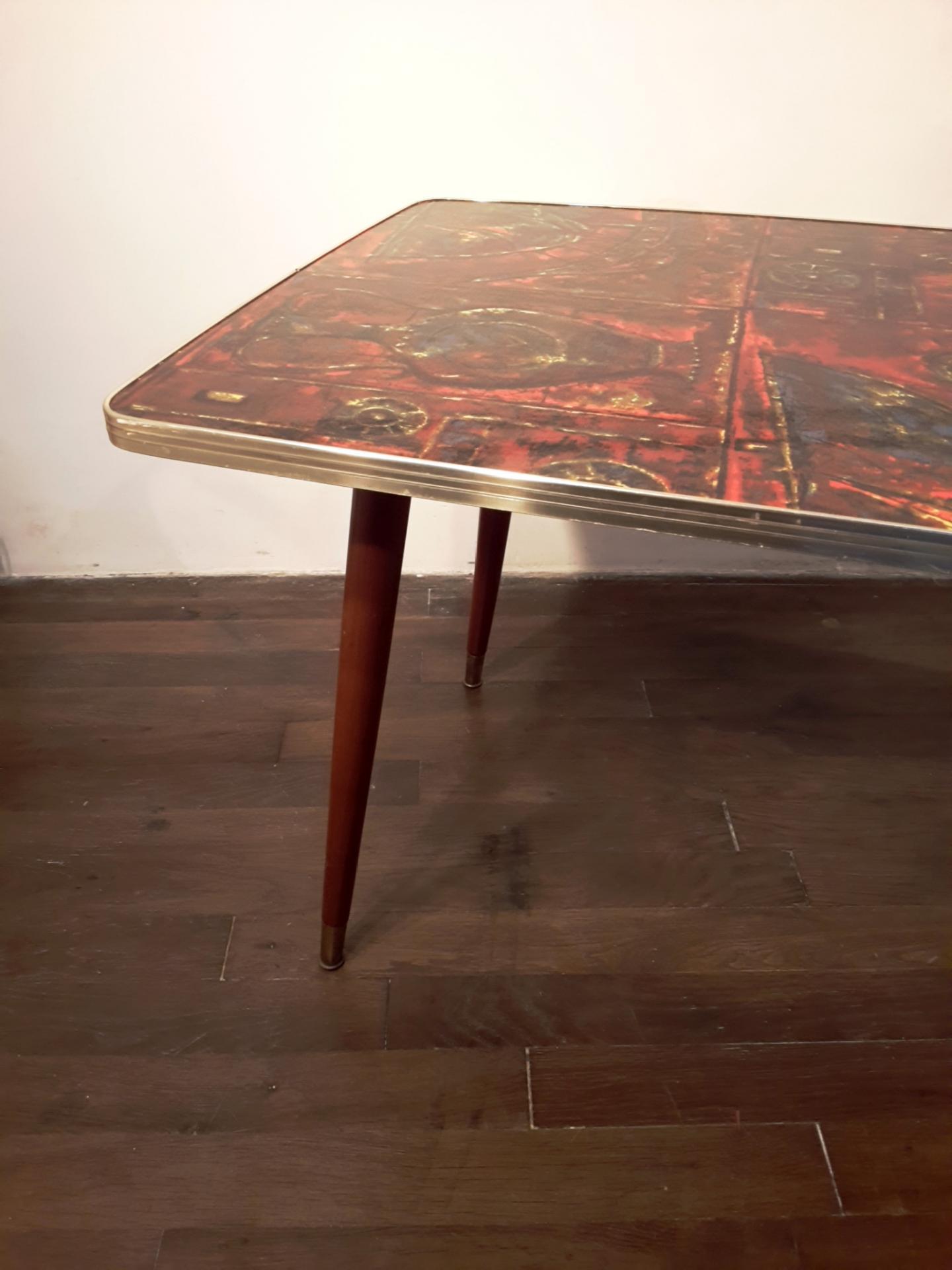 Table basse vintage en formica et pieds compas - Table basse pieds compas ...