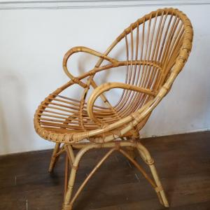 5 fauteuils en osier