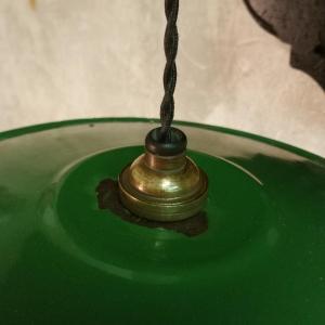5 lampe abat jour emaille vert fil noir