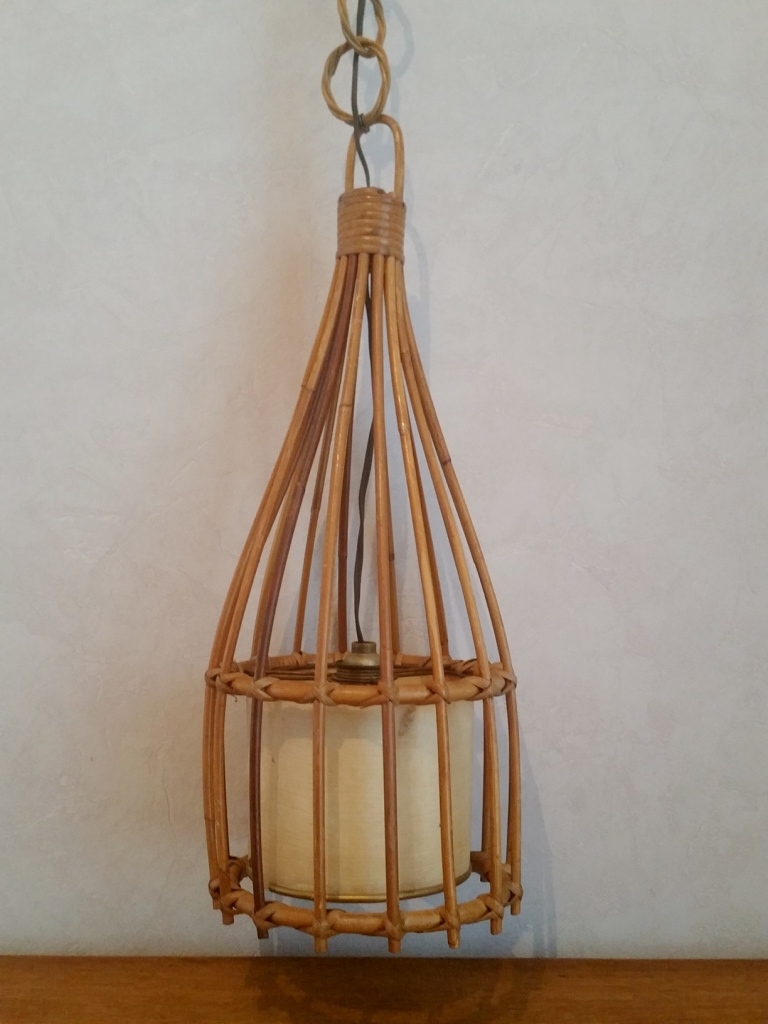 suspension vintage lustre rotin osier ann es 60 70. Black Bedroom Furniture Sets. Home Design Ideas