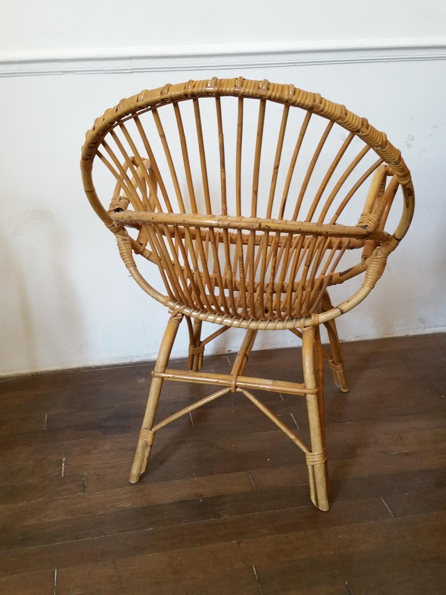 6 fauteuils en osier