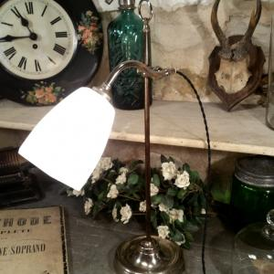 6 lampe de table opaline blanche