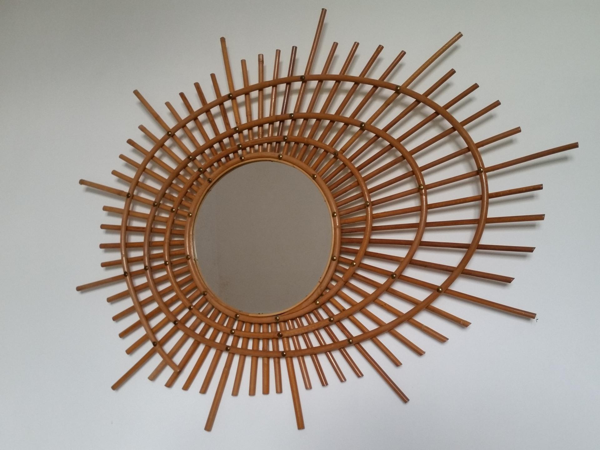 6 miroir rotin forme libre