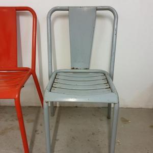 6 table et chaises tolix de bistrot