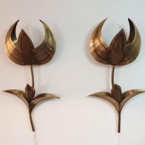 7 appliques tulipes laiton