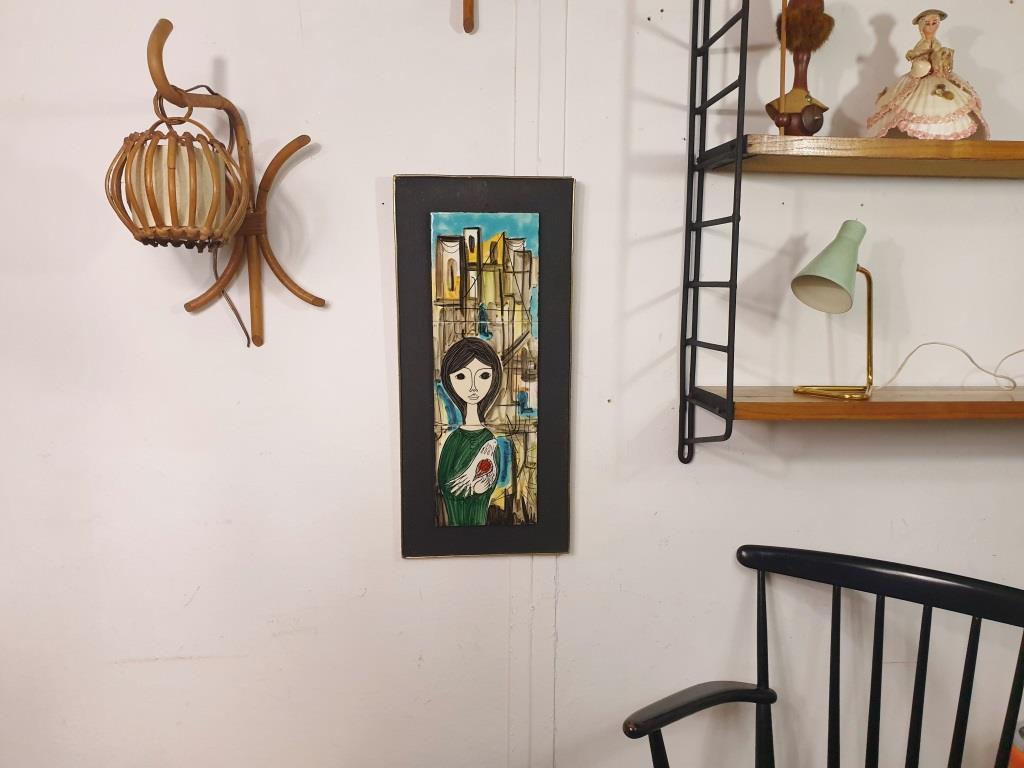 8 tableau ceramique femme a la colombe