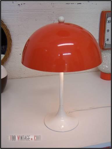 Lampe Champignon Vintage Des Années 70, Pied Tulipe Blanc, Globe