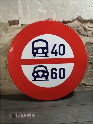 Ancien panneau de signalisation maill limitation de vitesse - Panneau de signalisation original ...